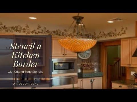 Stencils: How to Stencil a Kitchen Border. Wall stencils by Cutting Edge Stencils. DIY decor ideas.
