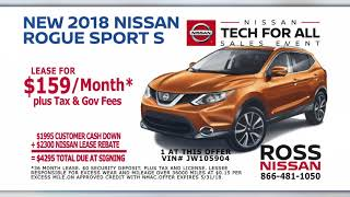 Here at ross nissan, we have special offers going on now until 5/31/18. stop by or visit our website for more details. http://www.rossnissan.com