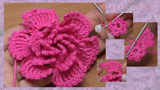 How To Crochet Big Petal Layered Flower ...