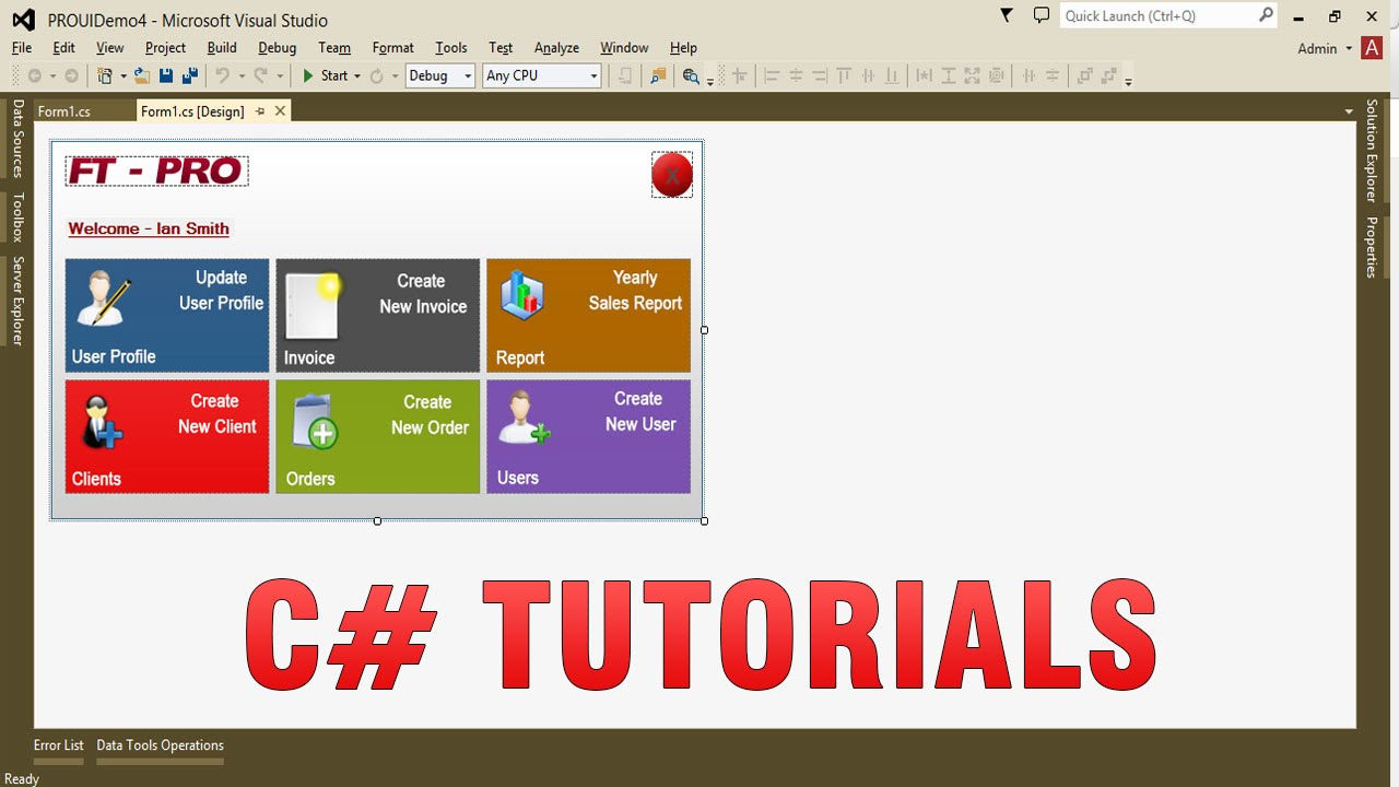 c tutorials create custom professional ui in winforms app
