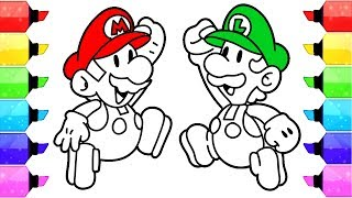 Super Mario Coloring Pages - Nintendo Super Mario and Luigi Coloring Page for Kids