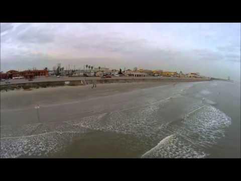AERIAL VIEW OF GULF OF MEXICO AT BEACH BY SEAWALL, GALVESTON TX - BLADE 350 QX2