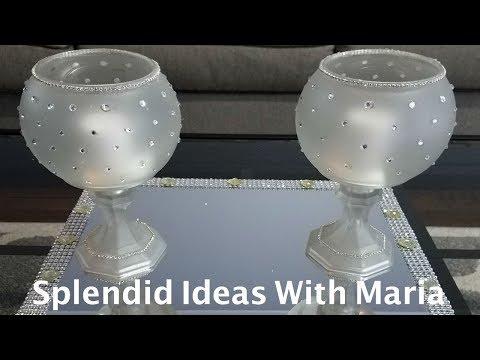 Centerpiece ideas : DIY glamorous candleholder centerpiece
