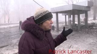 Repeat youtube video GRAPHIC 18+ Donetsk Bus stop shelled by Ukraine forces 1 civillian dead 6 taken to hospital