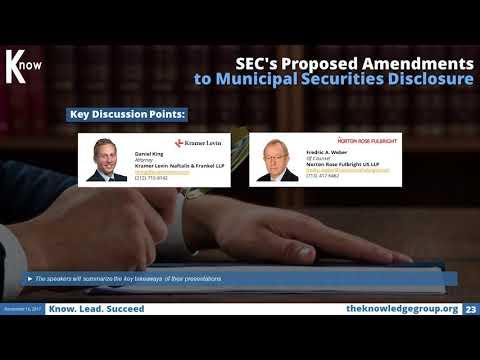 SEC's Proposed Amendments to Municipal Securities Disclosure