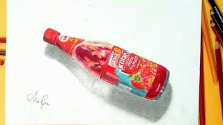 Drawing Kissan Ketchup Bottle! - How to draw in 3d? - Drawing glass bottle