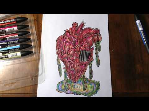 Coloring The Dripping Sketchy Heart With Music