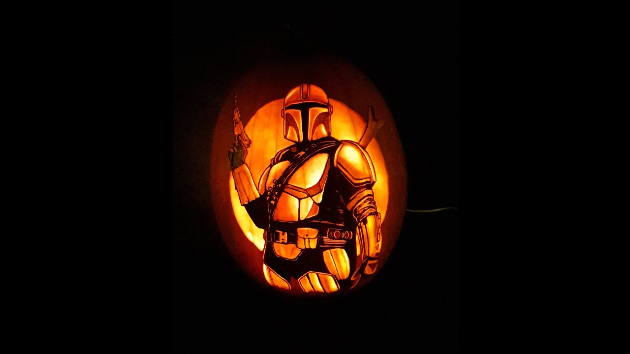 Mandalorian Pumpkin Carving Time lapse
