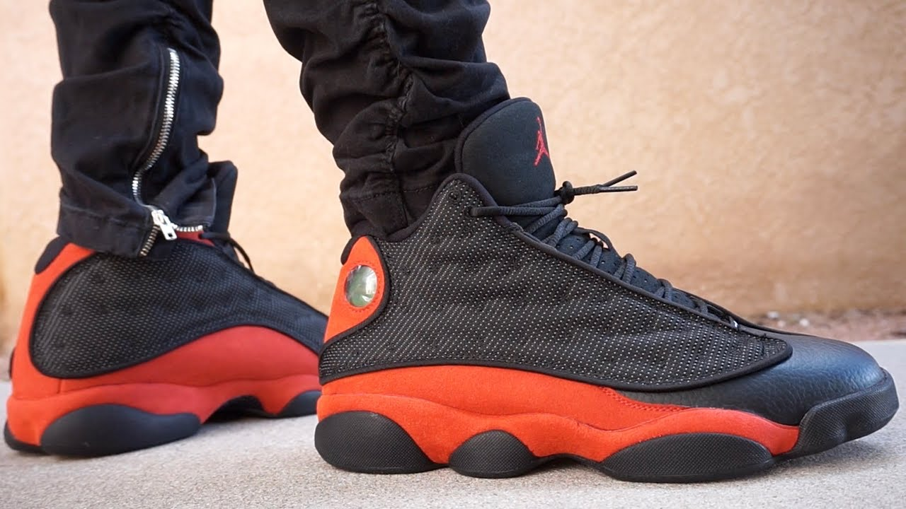 687c58a9b4e268 NIKE AIR JORDAN RETRO 13 BRED EARLY UP CLOSE LOOK ON FOOT HD HQ ...