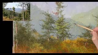 Горный Пейзаж Маслом – Рисуем Горы и Воздух и Деревья – Часть 2 – Юрий Клапоух (2019)