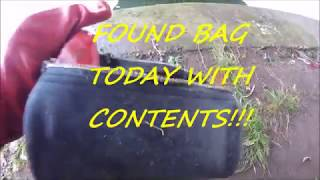 Contents found in bag, pulled from the river magnet fishing using 400 kg magnet