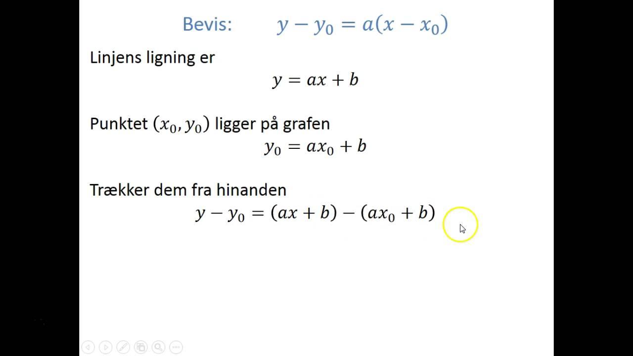 Analytisk geometri - Bevis: Linje gennem et punkt