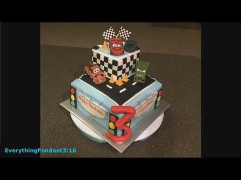 Cake Decorating: Disney Cars theme using fondant! Cute kids cake!