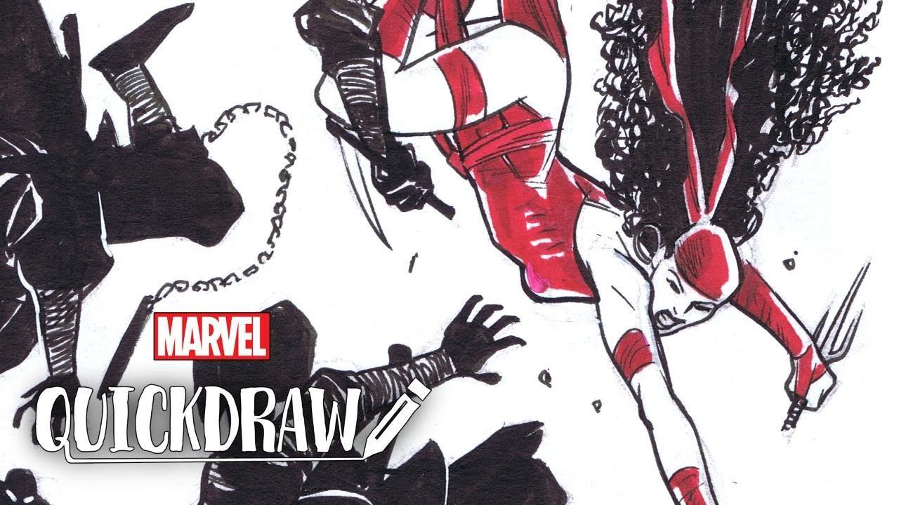 Artist Cory Smith draws Elektra – Marvel Quickdraw