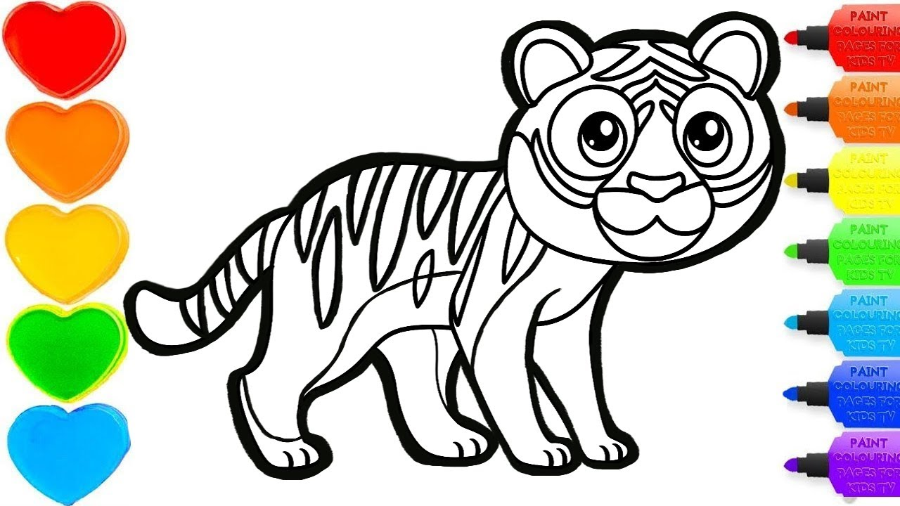 Tiger glitter drawing & coloring -  #colorsforchildren & #coloring& #kidscartoon