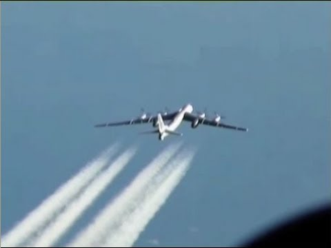 Tupolev Tu-95 bomber dropping a cruise missile