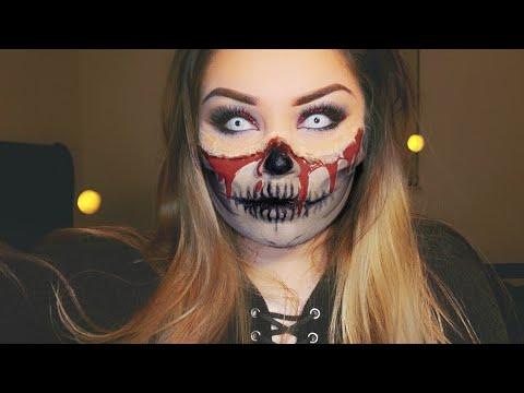 Half Face Bloody Skull | Halloween Makeup