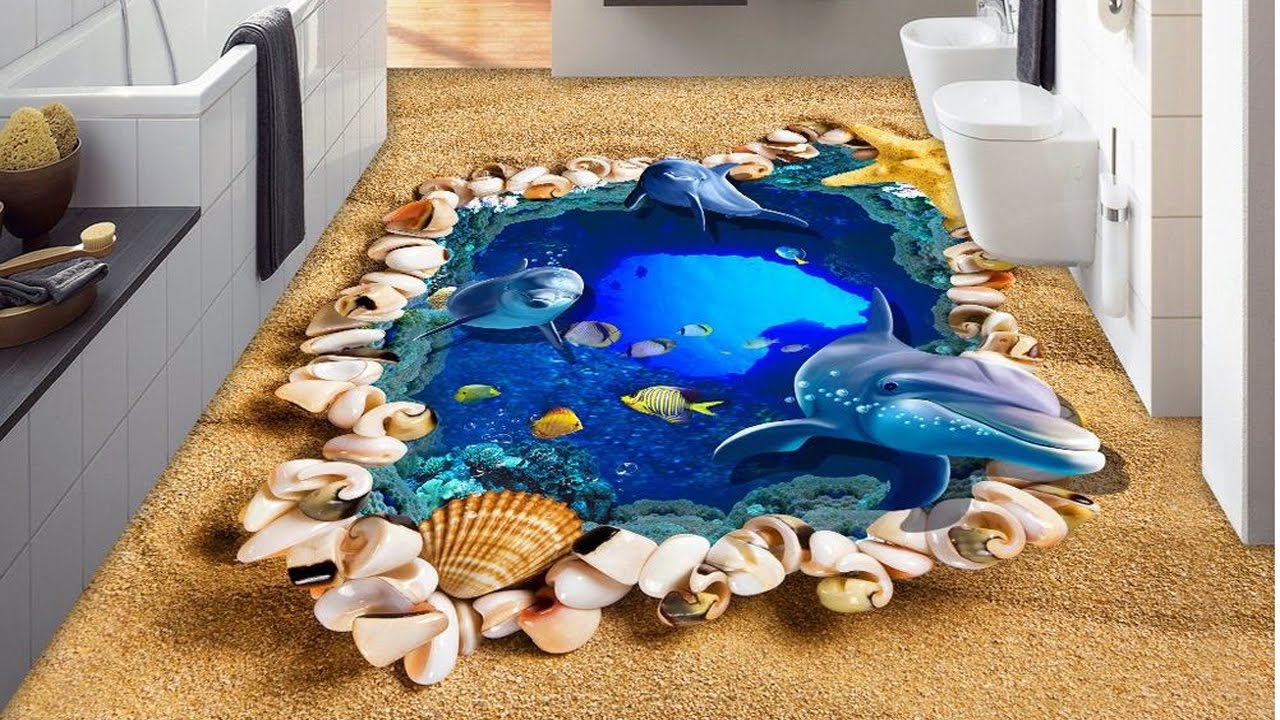 Awesome bathroom 3d floor designs youtube for 3d floor design