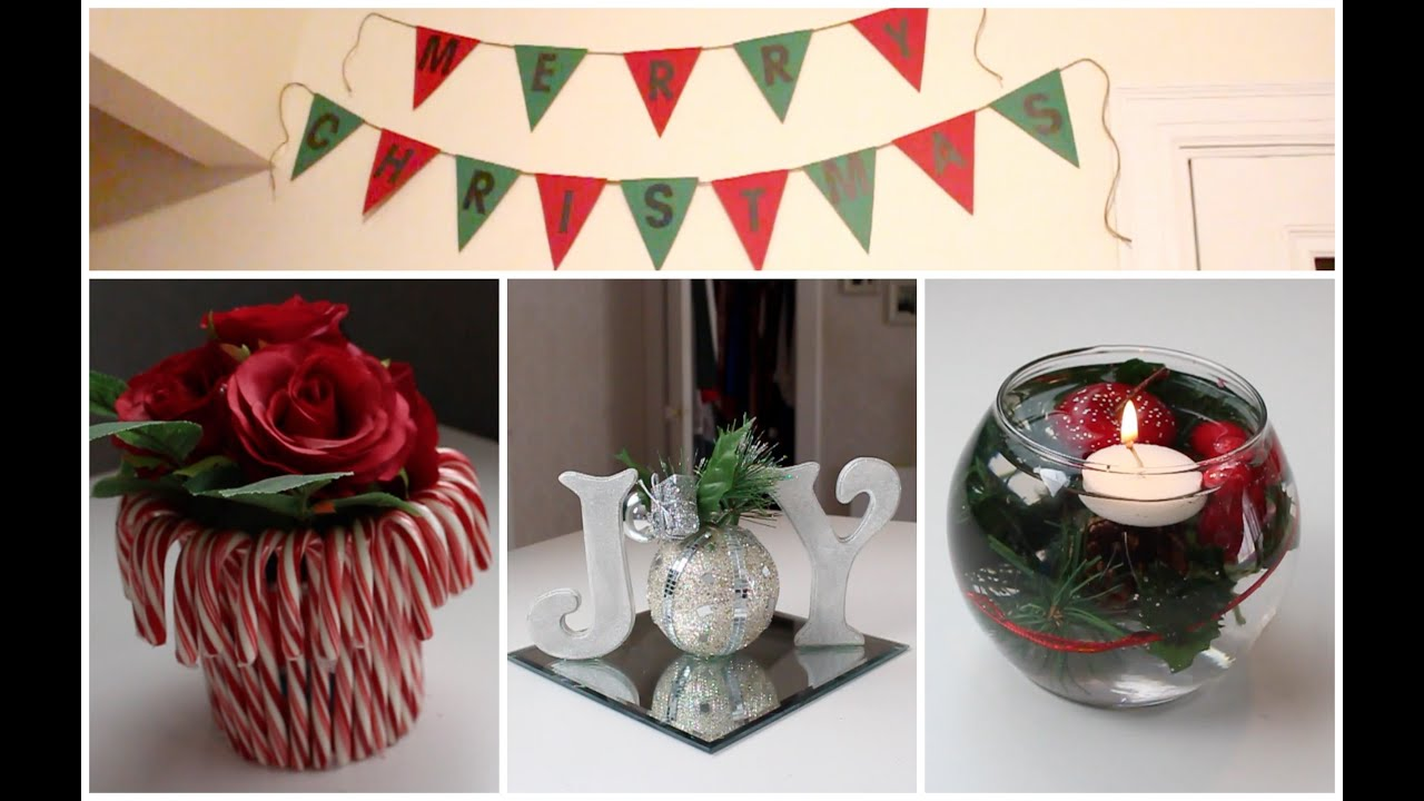Diy holiday room decor ideas christmas decorations youtube for Xmas decoration ideas 2016