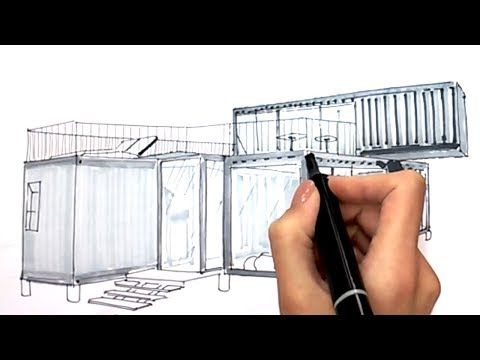 Modern Shipping Container Home (Sketch) Design Ideas