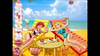 Одевалки принцесс Диснея на пляже. Игры про пляж
