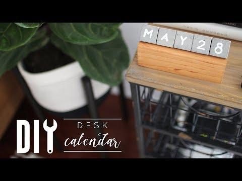 DIY Concrete + Wood Desk Calendar