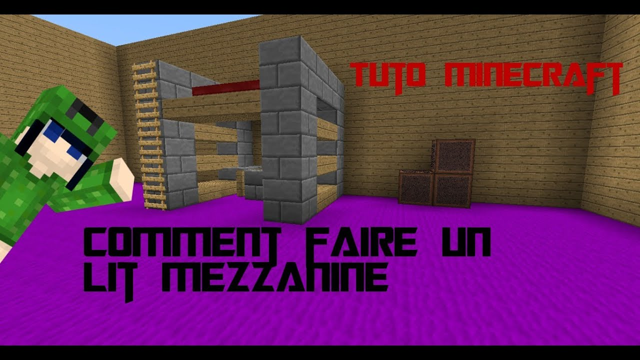tuto comment faire un lit mezzanine sur minecraft commumc fr youtube. Black Bedroom Furniture Sets. Home Design Ideas