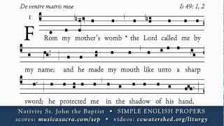 INTROIT, 24 June, St John the Baptist, SIMPLE ENGLISH PROPERS
