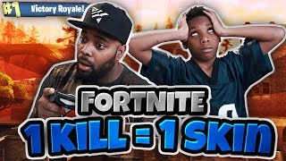 NOUVEAU FORTNITE 1 KILL 1 SKIN CHALLENGE VS MY 9 YEAR OLD SON! FORTNITE BATTLE ROYALE DUOS SUR PS4