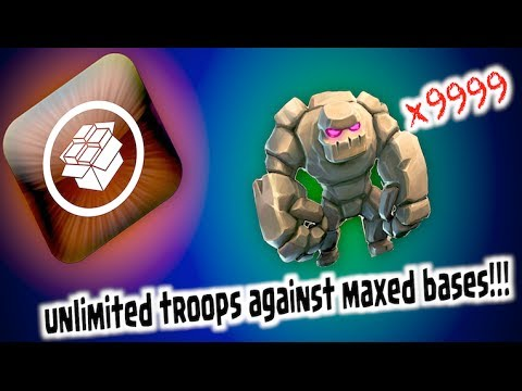 CLASH OF CLANS - UNLIMITED TROOPS VS MAXED BASES!!!!