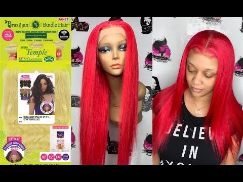 Janet Collection Brazilian Bundles 1 Pack Solution With 13x4 Natural Temple Frontal 613 to Red