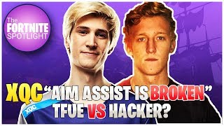 xQc Thinks Aim Asisst is * BROKEN* | Tfue VS Hacker? | Fortnite Highlights