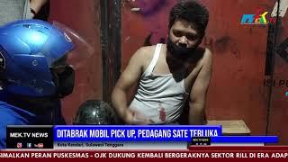 Ditabrak Mobil Pick Up, Pedagang Sate Terluka