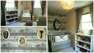 NURSERY TOUR! Neutral Gray & White Rustic Baby Boy's Room