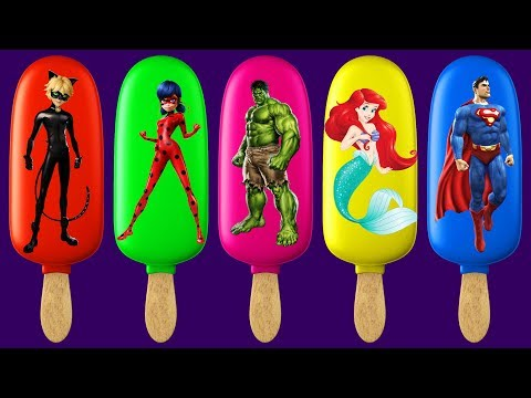 Miraculous Ladybug Cat Noir Ariel Hulk Superman Ice Cream Finger Family Colors Learn
