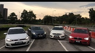 DRIVEN #3: VW Golf GTI vs Mercedes A 250 vs BMW 125i vs Volvo V40 T5