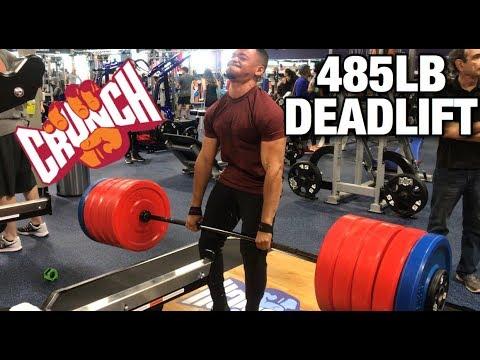 485LB DEADLIFT at Crunch Fitness Grand Opening!!! | 2018