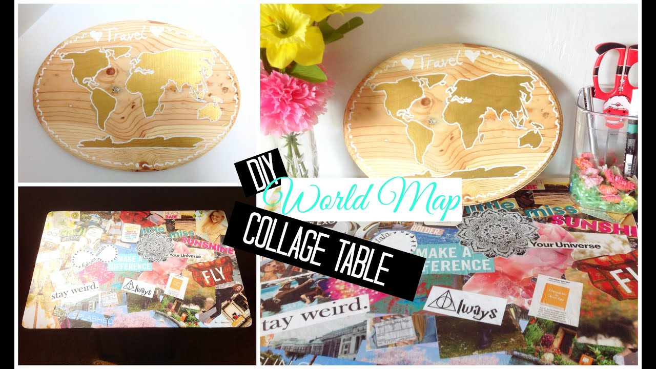 Diy world map collage table easy and affordable spirited gal diy world map collage table easy and affordable spirited gal youtube gumiabroncs Images