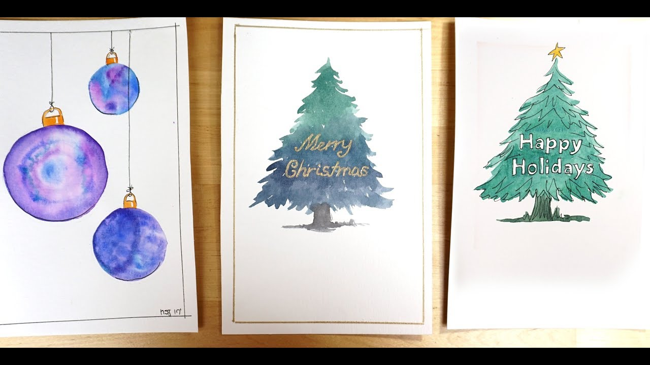 Watercolor Christmas Cards - Christmas Tree with text inside - YouTube