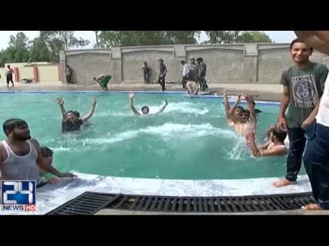 People of lahore enjoying sunday holiday in swimming pools - Swimming pool in bahria town lahore ...