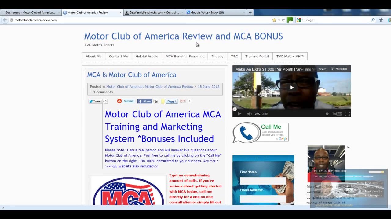 Motor club of america google voice and widget setup youtube for Road america motor club