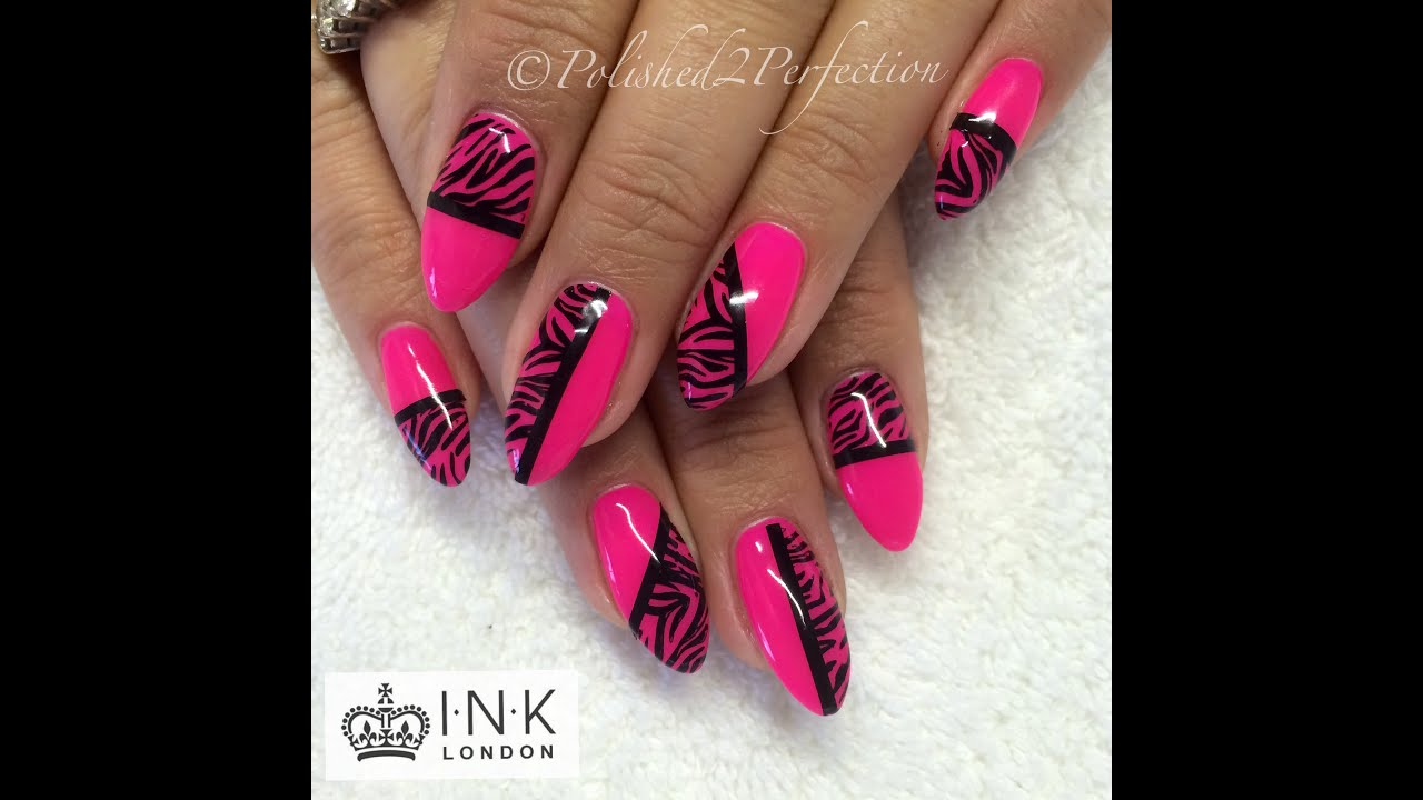 Neon Pink Zebra Stripe Nails! | INK London | Empower Nail Art - YouTube