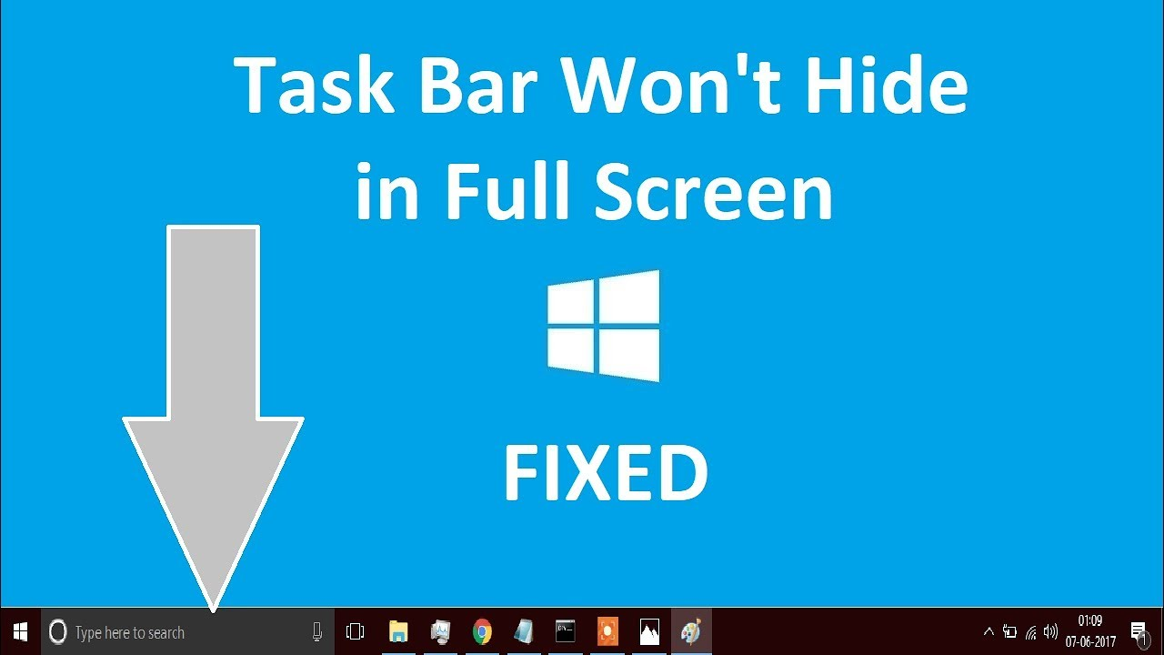 Task bar not hiding in fullscreen Windows 10/8/7 | Quick fix - YouTube