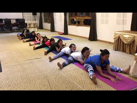 Yoga Group Class in Bhutan - Seated Forward Fold