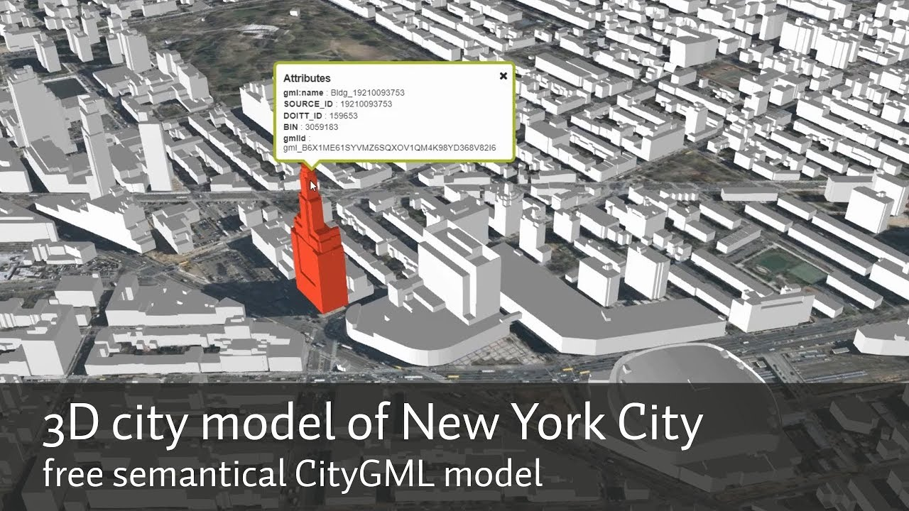 Free Map Of New York City.3d City Model Of New York City Nyc The Free Semantical Citygml Model As A Web Streaming 3d Map
