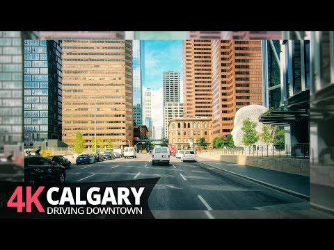 Calgary 4K60fps - Driving Downtown - Alberta, Canada