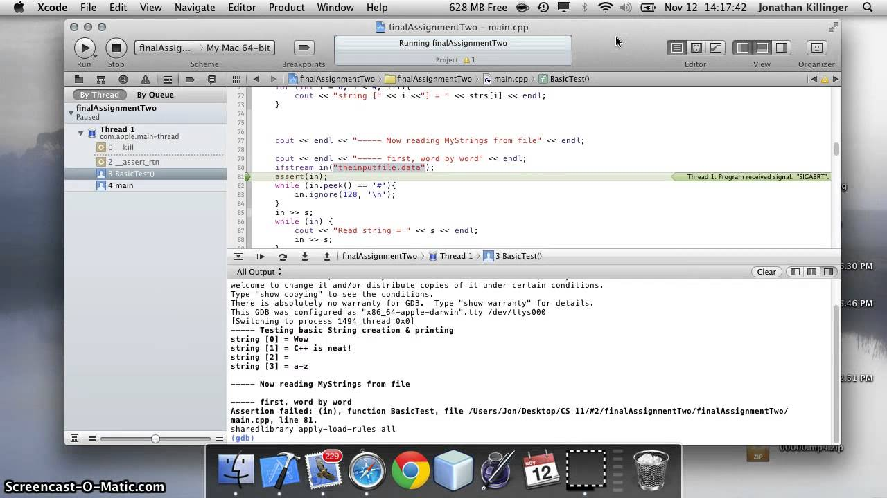 Creating Input files for C++ in Xcode: Version 4 1 (4B110)
