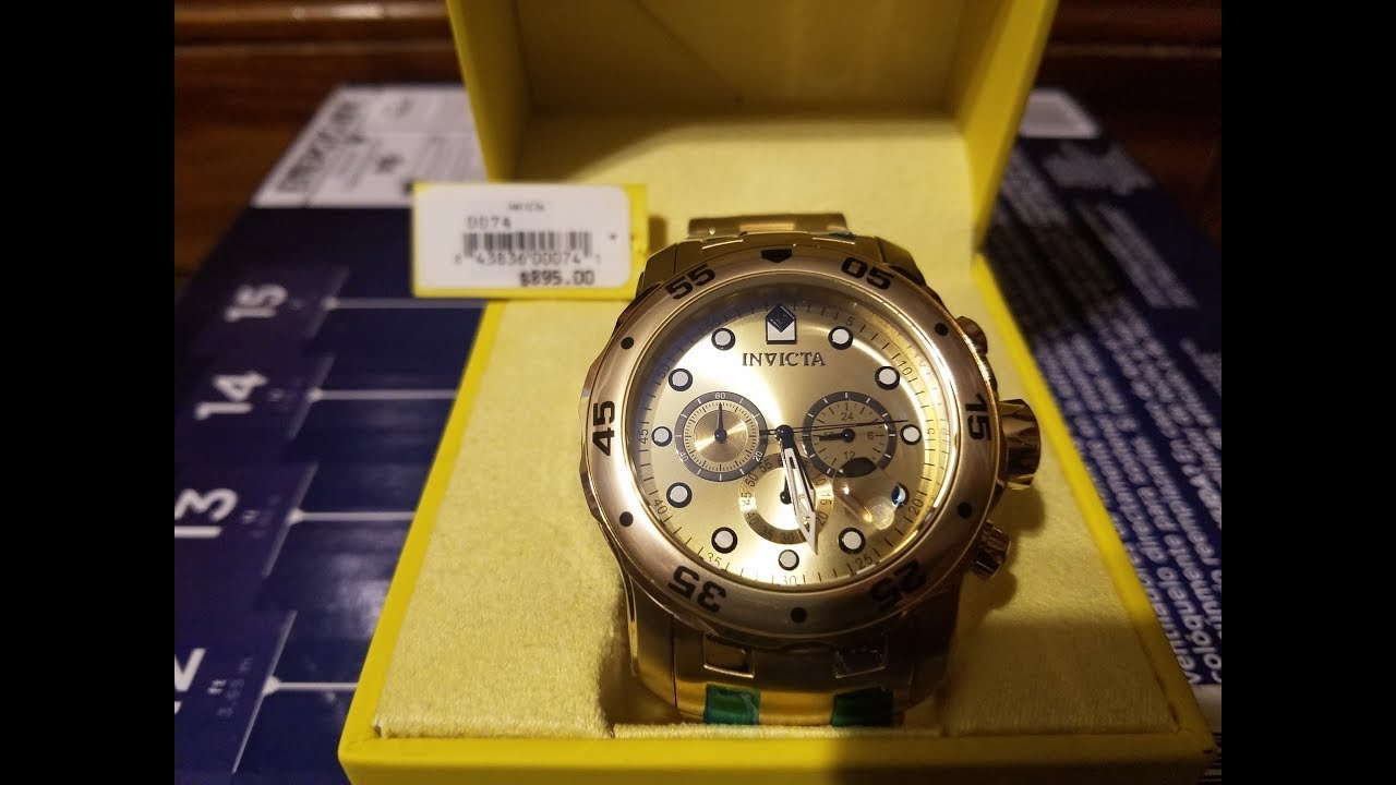 54788a990e7 Invicta Pro Diver 0074 Unboxing - 48MM 18K Gold Watch - YouTube