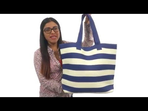 San Diego Hat Company BSB1556 Wide Stripe Tote Bag with Interior Zippered Pocket   SKU: 8690856