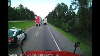 Truck runs cop off the road